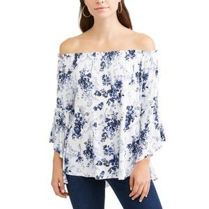 Time and Tru Off Shoulder Flutter Sleeve Top Small